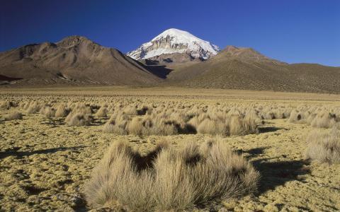 在沙漠中的雪峰