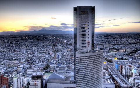 摩天大楼在郊区的背景下,照片人类发展报告