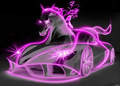 粉红色的马