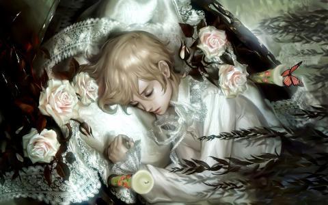女孩,玫瑰,枕头