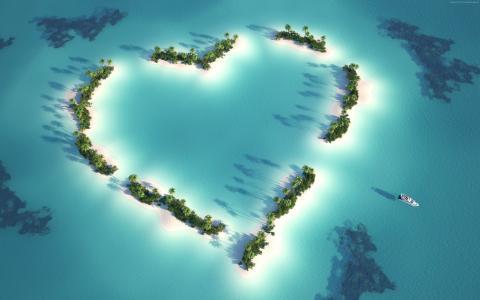在印度洋,马尔代夫的心脏形式的岛屿