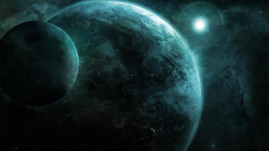 行星地球,月亮,行星,星星