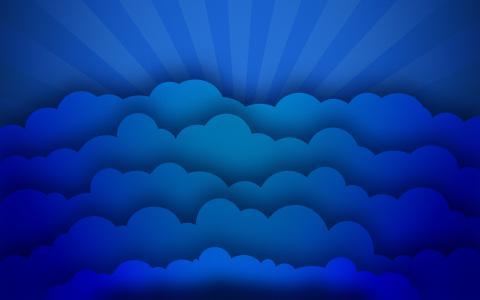 蓝色的光线和云