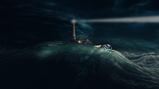 灯塔灯塔在夜里