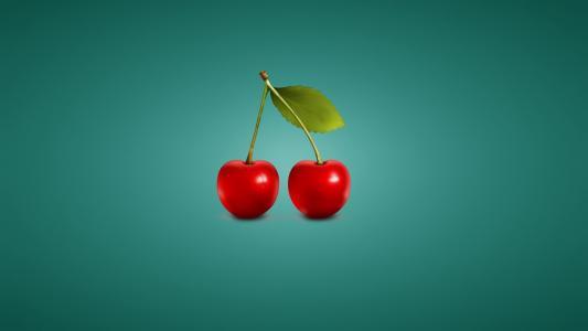 在翡翠背景的樱桃