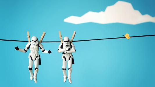 机器人在绳子上干燥