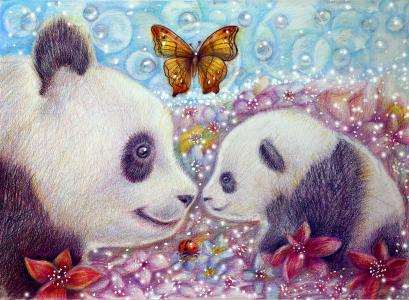 大熊猫与小熊和蝴蝶