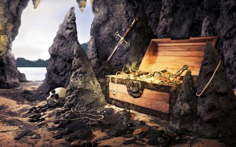在山洞里的海盗宝藏