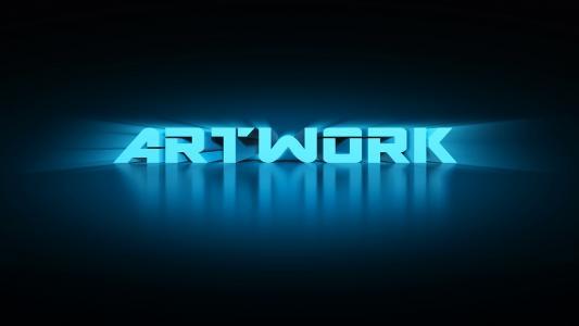 在黑暗的背景,3D图形上的蓝色字母