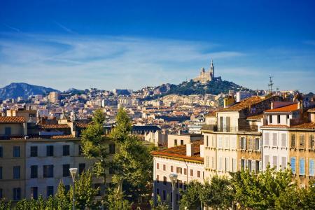 在马赛,法国的全景