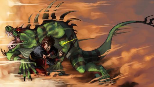 与一条绿龙战斗一个男孩