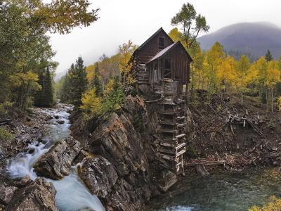 森林河岸上的房子