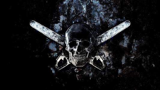 头骨和两个电锯