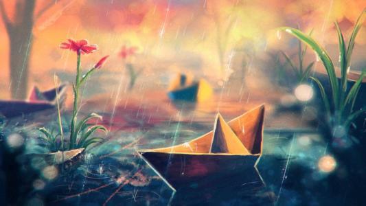 纸船在雨中,绘图