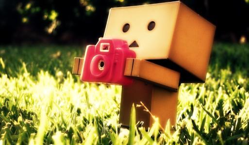 纸板人用相机在草地上