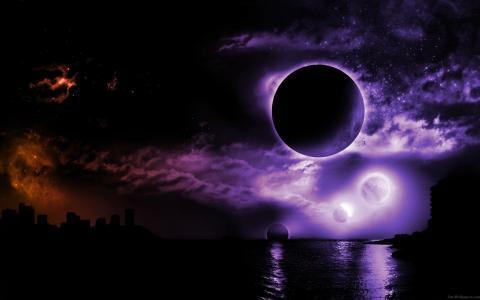 在晚上的紫色日蚀