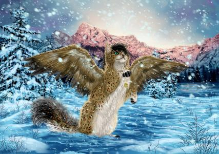 与在冬季森林,幻想的翅膀的魔术猫