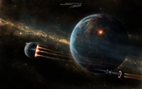 在这个星球的背景下的宇宙球体
