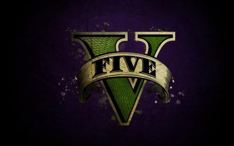 游戏侠盗车手V在紫色背景上的标志