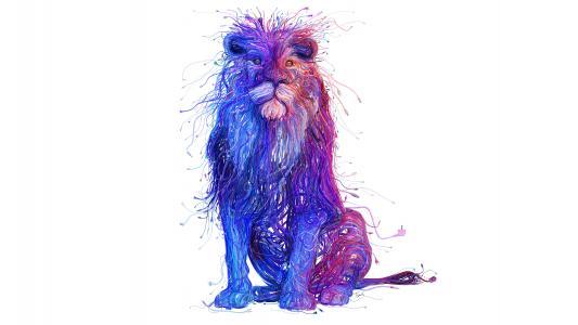 在白色背景3d图形上的多彩色电线大狮子