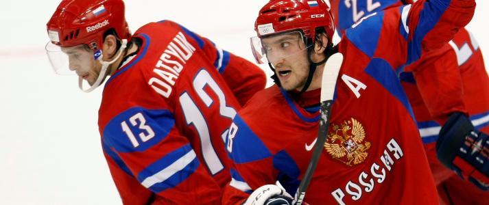 俄罗斯曲棍球运动员在索契2014年