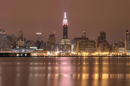 水,反射,摩天大楼,美国