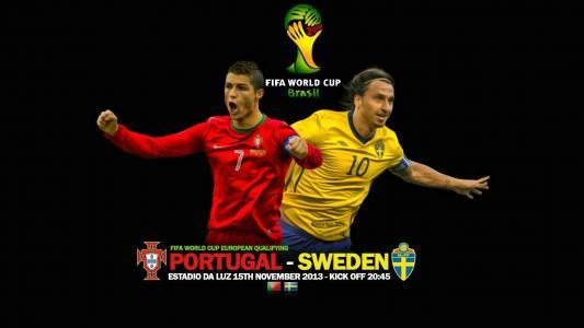 在2014年巴西世界杯上与葡萄牙瑞典队比赛