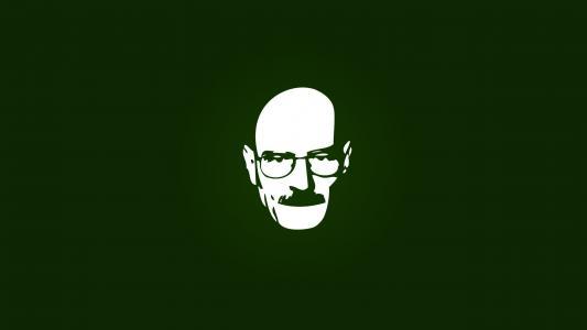 戴眼镜的人,绿色背景