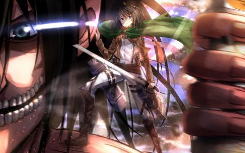 一个在动画片中的武士刀的女孩Shingeki no Kyojin