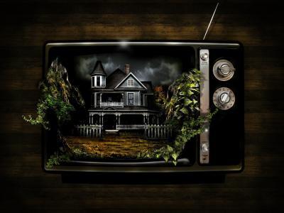 电视机长满了常春藤