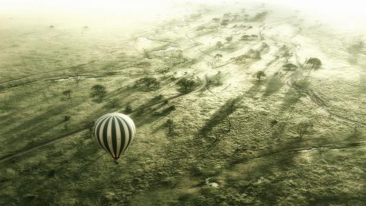 热气球飞行,塞伦盖蒂非洲