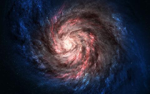 粉红色的螺旋星系,蓝色的边缘