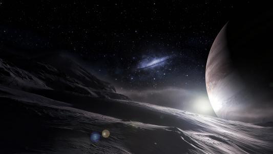 星球的表面和满天星斗的天空
