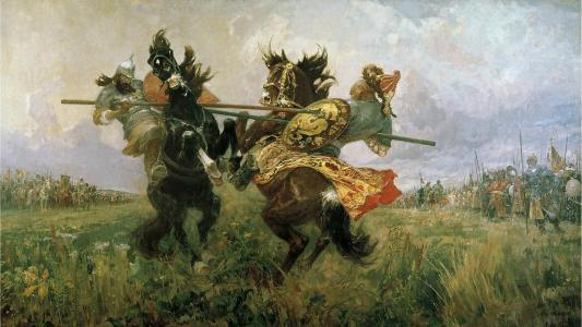 绘画与Chelubey Peresvet的决斗在Kulikovo领域
