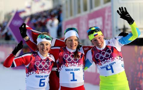 挪威滑雪比赛的金牌得主Mikeken Kaspersen Falla