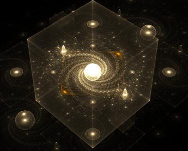 银河在透明的立方体