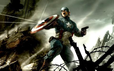 美国队长用盾牌反射子弹