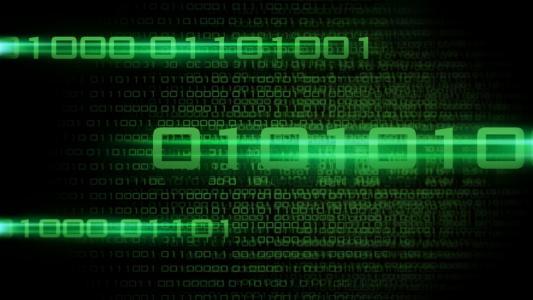 二进制代码,黑色背景上的绿色数字