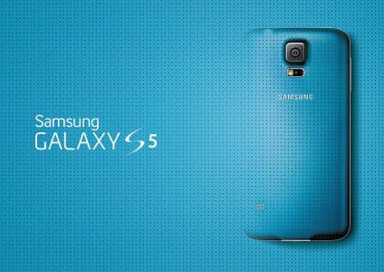 蓝色三星Galaxy S5