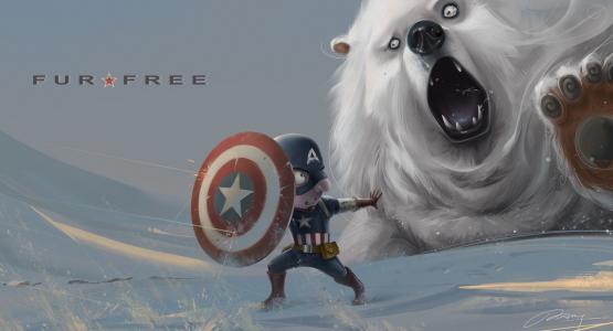 雪,熊,美国队长