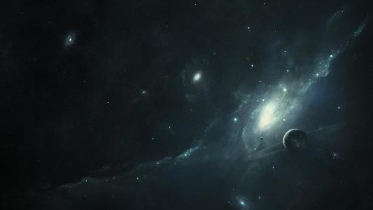 星系背景下的星系