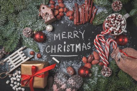圣诞礼物,款待和节日装饰