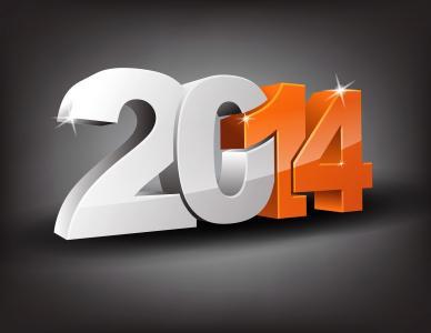 新的一年2014年在灰色的背景上