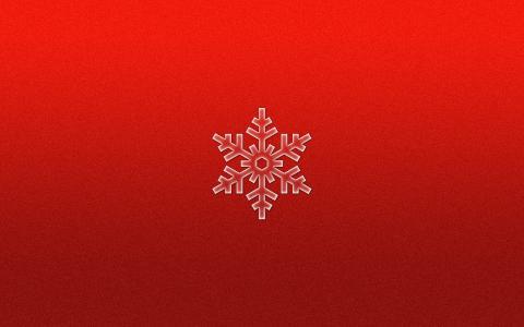 红色背景上的雪花