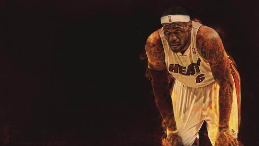 篮球运动员勒布朗在火中