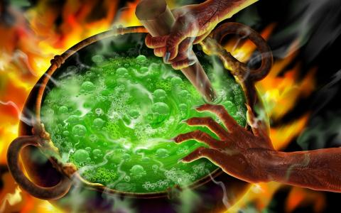 万圣节沸腾的大锅