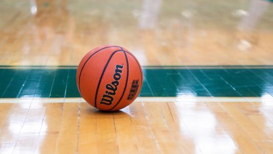 室内篮球场上的篮球