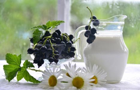 牛奶在一个玻璃水罐与葡萄干和雏菊的桌子上