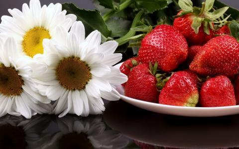草莓和洋甘菊