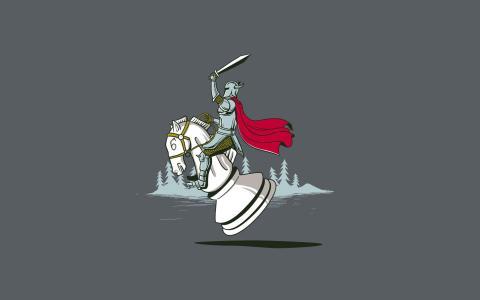 骑士跳上国际象棋骏马,灰色的背景